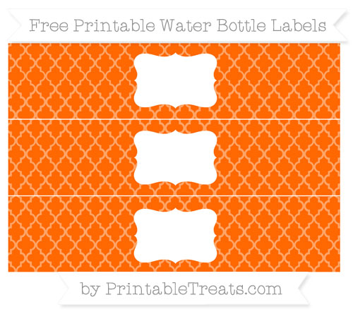 Free Safety Orange Moroccan Tile Water Bottle Labels
