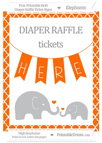Free Safety Orange Moroccan Tile Elephant 8x10 Diaper Raffle Ticket Sign
