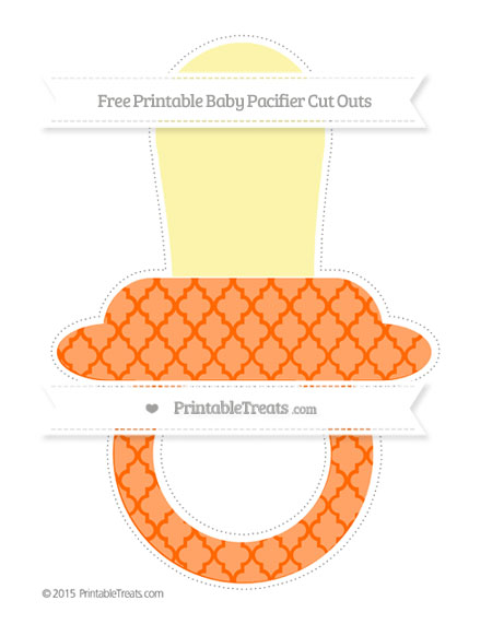 Free Safety Orange Moroccan Tile Extra Large Baby Pacifier Cut Outs