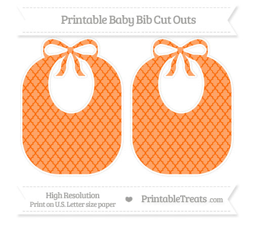 Free Safety Orange Moroccan Tile Large Baby Bib Cut Outs