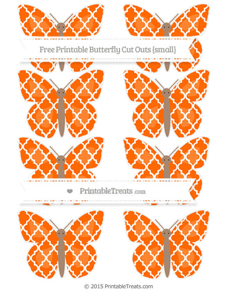 Free Safety Orange Moroccan Tile Small Butterfly Cut Outs