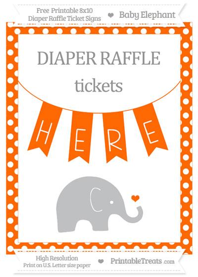 Free Safety Orange Polka Dot Baby Elephant 8x10 Diaper Raffle Ticket Sign