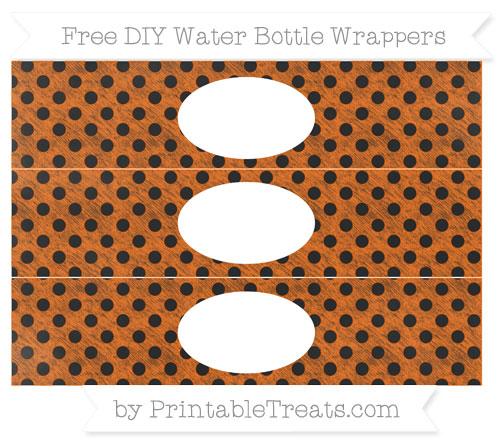 Free Safety Orange Polka Dot Chalk Style DIY Water Bottle Wrappers