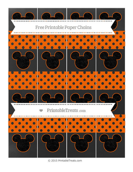 Free Safety Orange Polka Dot Chalk Style Mickey Mouse Paper Chains