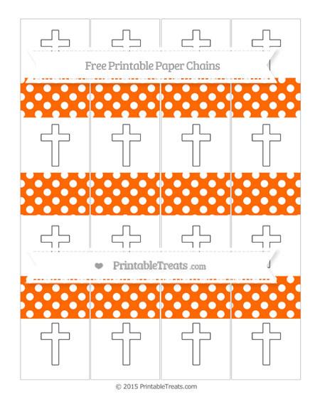 Free Safety Orange Polka Dot Cross Paper Chains