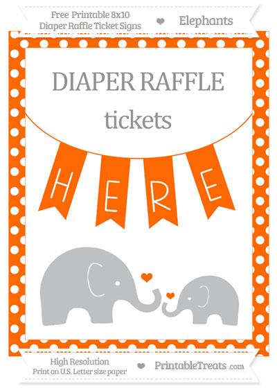 Free Safety Orange Polka Dot Elephant 8x10 Diaper Raffle Ticket Sign