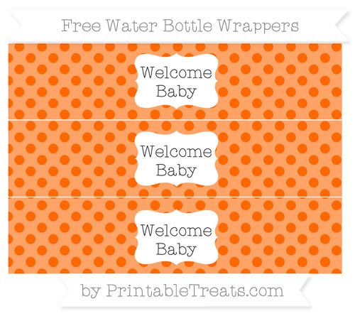 Free Safety Orange Polka Dot Welcome Baby Water Bottle Wrappers