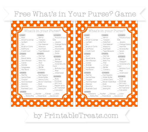 Free Safety Orange Polka Dot What's in Your Purse Baby Shower Game