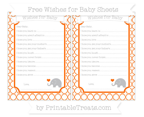 Free Safety Orange Quatrefoil Pattern Baby Elephant Wishes for Baby Sheets