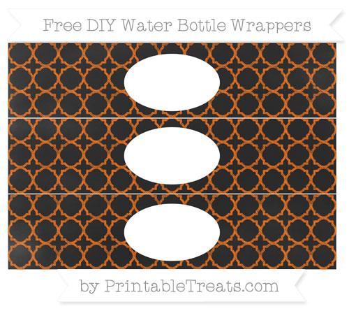 Free Safety Orange Quatrefoil Pattern Chalk Style DIY Water Bottle Wrappers