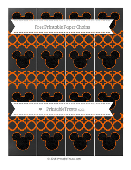 Free Safety Orange Quatrefoil Pattern Chalk Style Mickey Mouse Paper Chains