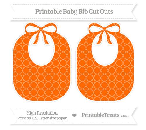 Free Safety Orange Quatrefoil Pattern Large Baby Bib Cut Outs