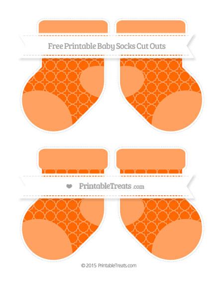 Free Safety Orange Quatrefoil Pattern Medium Baby Socks Cut Outs