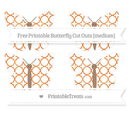 Free Safety Orange Quatrefoil Pattern Medium Butterfly Cut Outs