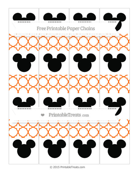 Free Safety Orange Quatrefoil Pattern Mickey Mouse Paper Chains