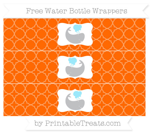 Free Safety Orange Quatrefoil Pattern Whale Water Bottle Wrappers