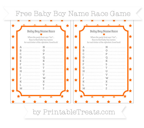 Free Safety Orange Star Pattern Baby Boy Name Race Game