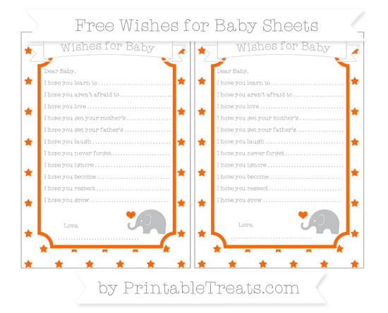 Free Safety Orange Star Pattern Baby Elephant Wishes for Baby Sheets