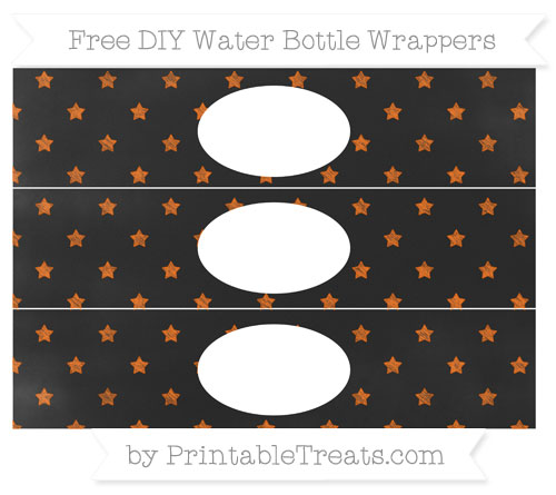 Free Safety Orange Star Pattern Chalk Style DIY Water Bottle Wrappers