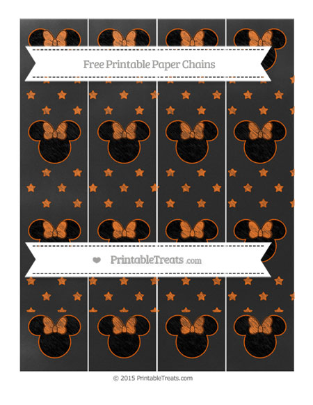 Free Safety Orange Star Pattern Chalk Style Minnie Mouse Paper Chains