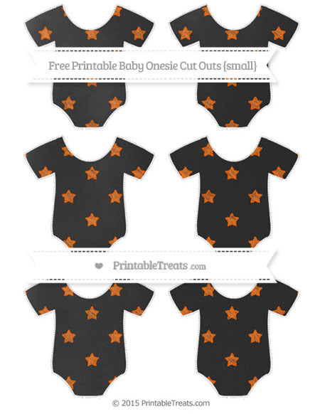 Free Safety Orange Star Pattern Chalk Style Small Baby Onesie Cut Outs