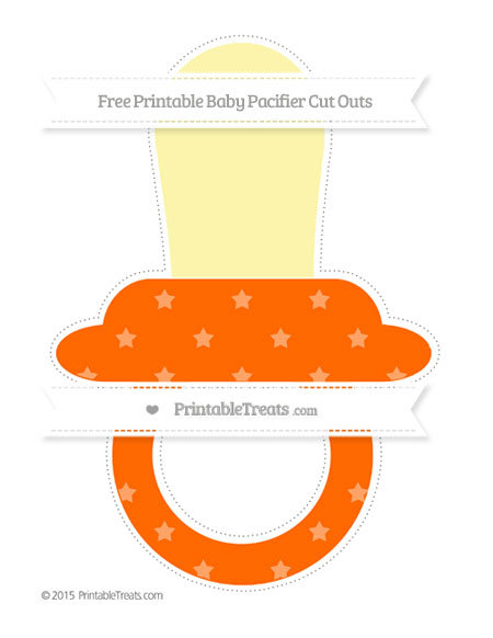 Free Safety Orange Star Pattern Extra Large Baby Pacifier Cut Outs