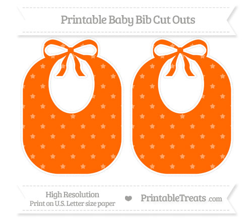 Free Safety Orange Star Pattern Large Baby Bib Cut Outs