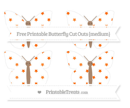 Free Safety Orange Star Pattern Medium Butterfly Cut Outs