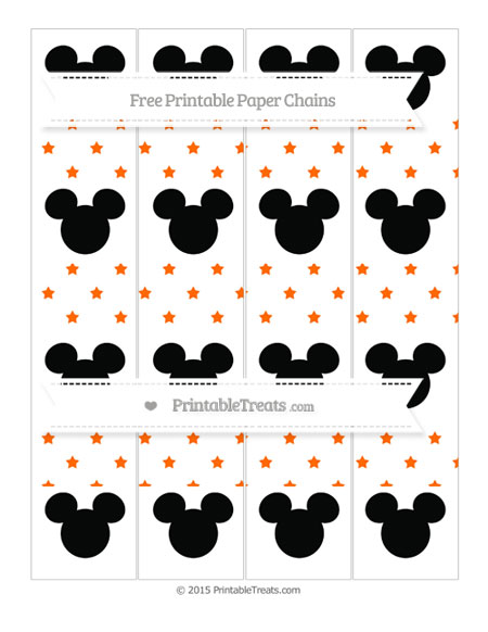 Free Safety Orange Star Pattern Mickey Mouse Paper Chains