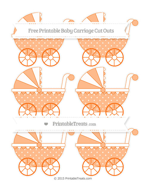 Free Safety Orange Star Pattern Small Baby Carriage Cut Outs