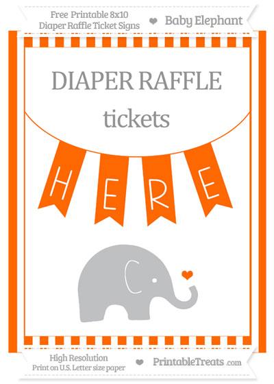Free Safety Orange Striped Baby Elephant 8x10 Diaper Raffle Ticket Sign