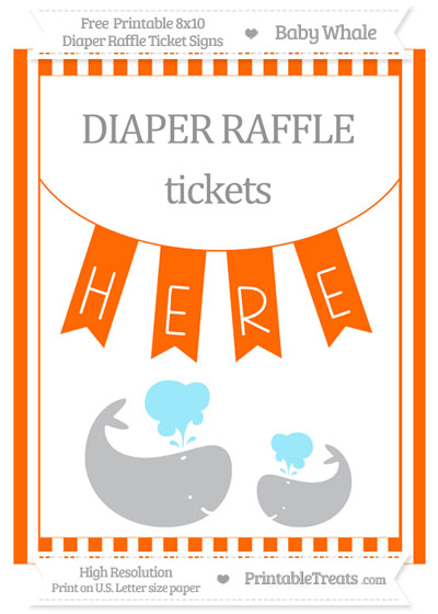 Free Safety Orange Striped Baby Whale 8x10 Diaper Raffle Ticket Sign