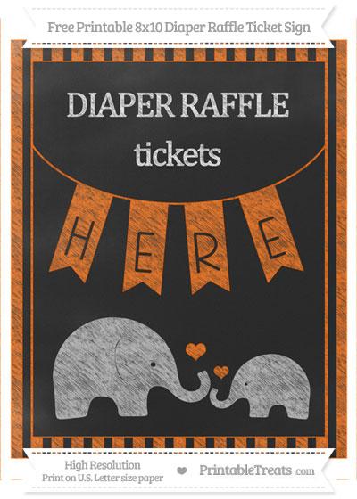 Free Safety Orange Striped Chalk Style Elephant 8x10 Diaper Raffle Ticket Sign