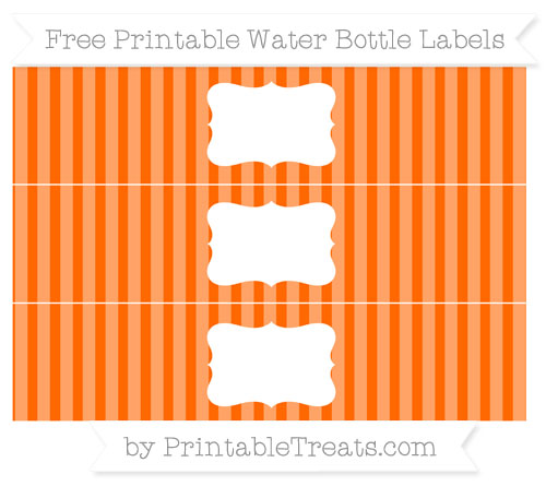 Free Safety Orange Striped Water Bottle Labels