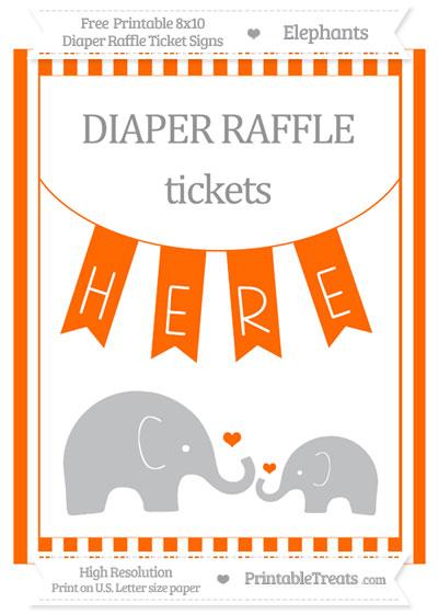 Free Safety Orange Striped Elephant 8x10 Diaper Raffle Ticket Sign