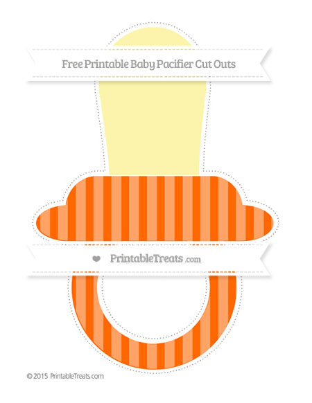 Free Safety Orange Striped Extra Large Baby Pacifier Cut Outs