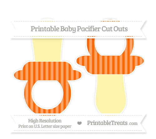 Free Safety Orange Striped Large Baby Pacifier Cut Outs