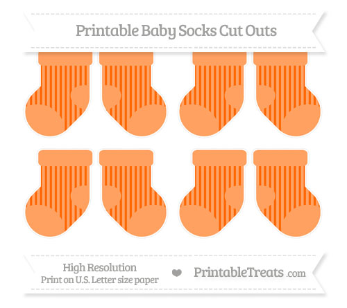 Free Safety Orange Striped Small Baby Socks Cut Outs