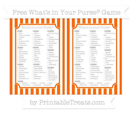 Free Safety Orange Striped What's in Your Purse Baby Shower Game