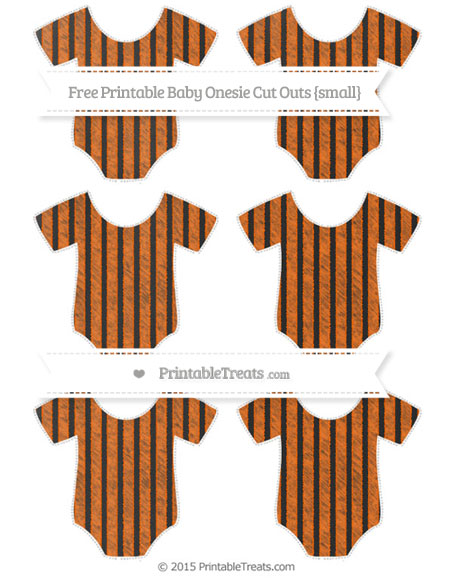 Free Safety Orange Thin Striped Pattern Chalk Style Small Baby Onesie Cut Outs