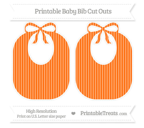 Free Safety Orange Thin Striped Pattern Large Baby Bib Cut Outs