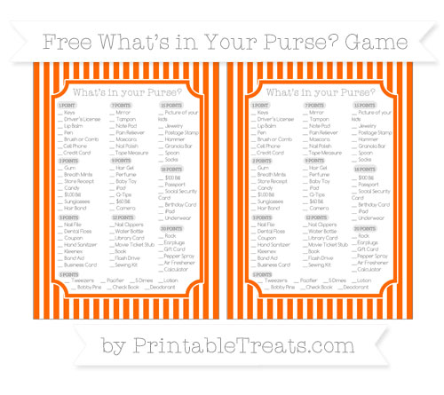 Free Safety Orange Thin Striped Pattern What's in Your Purse Baby Shower Game
