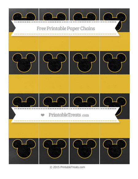 Free Saffron Yellow Chalk Style Mickey Mouse Paper Chains
