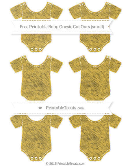 Free Saffron Yellow Chalk Style Small Baby Onesie Cut Outs