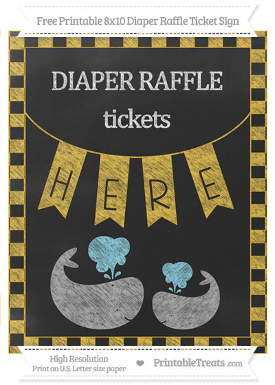 Free Saffron Yellow Checker Pattern Chalk Style Baby Whale 8x10 Diaper Raffle Ticket Sign