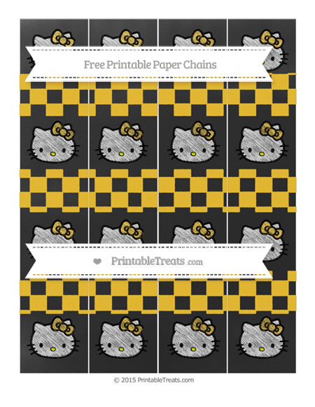 Free Saffron Yellow Checker Pattern Chalk Style Hello Kitty Paper Chains