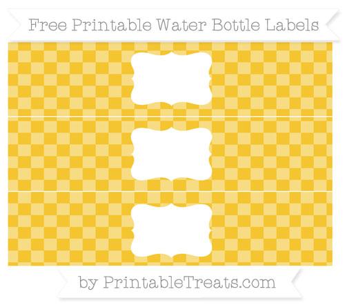 Free Saffron Yellow Checker Pattern Water Bottle Labels