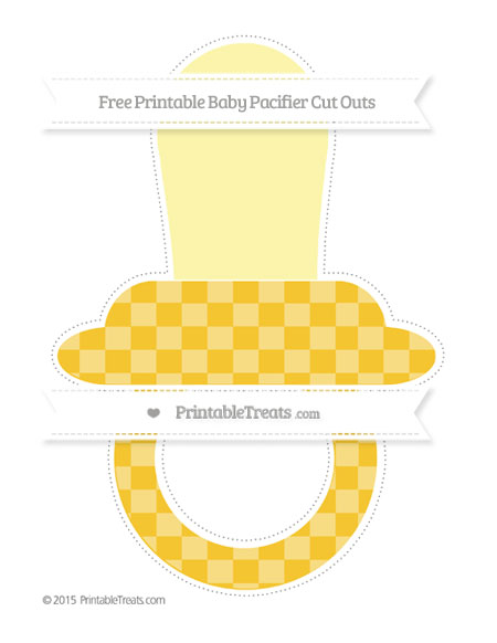 Free Saffron Yellow Checker Pattern Extra Large Baby Pacifier Cut Outs