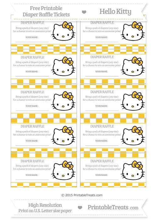 Free Saffron Yellow Checker Pattern Hello Kitty Diaper Raffle Tickets