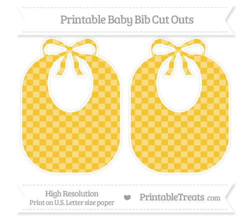 Free Saffron Yellow Checker Pattern Large Baby Bib Cut Outs